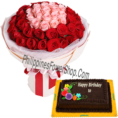 Red Pink 36 Pieces Rose Bouquet W Birthday Cake To Philippines