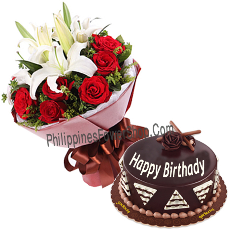 Order 3 Lilies 12 Red Rose Bouquet With Birthday Cake To Philippines
