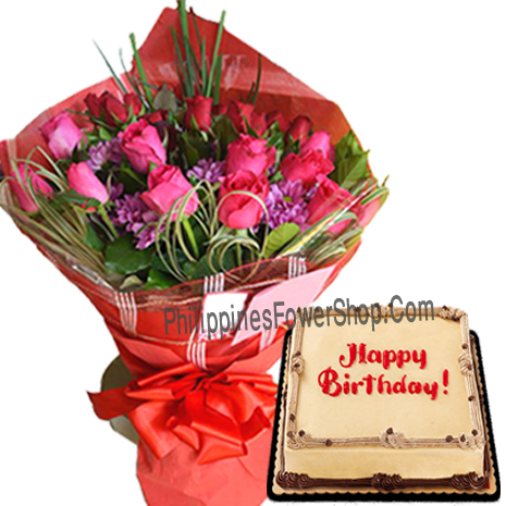 24 Pieces Red Pink Rose With Mocha Birthday Cake To Philippines