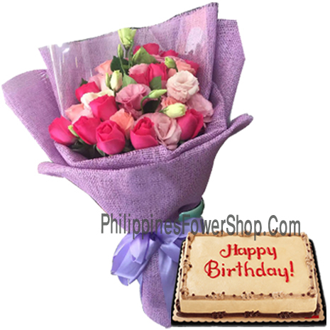 Soft hot pink rose bouquet with mocha birthday cake to philippines mightylinksfo