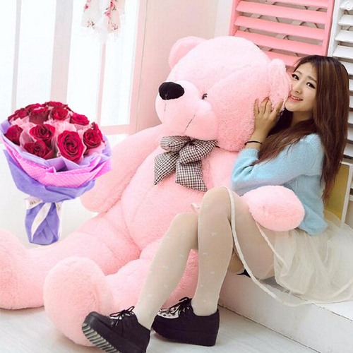 online 6 feet giant teddy bear with 12 pieces rose bouquet to