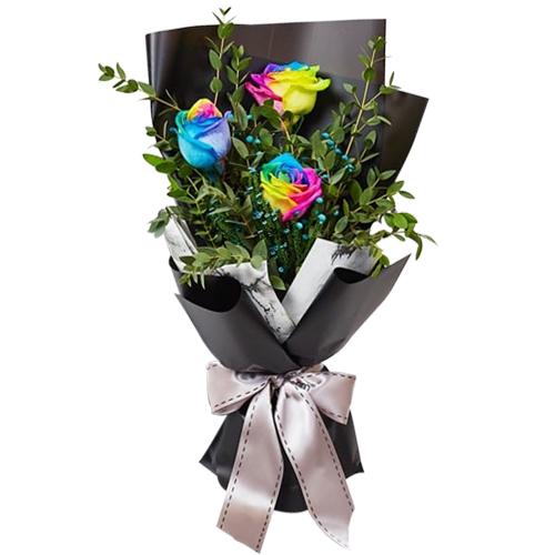 3 Pieces Rainbow Rose Bouquet