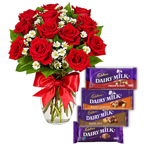 Red Roses Vase with Cadbury Dairy Milk 4 Varieties Delivery To Philippines