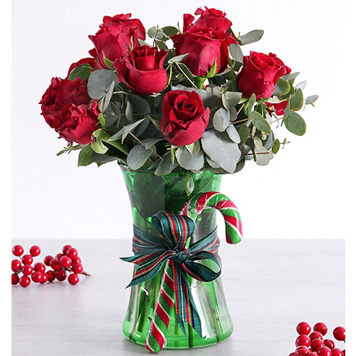 RED HOLIDAY CHRISTMAS FLOWER ARRANGEMENT w// GLASS VASE ~ ARTIFICIAL FLORAL