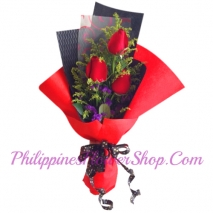valentines 3 red roses in bouquet to philippines