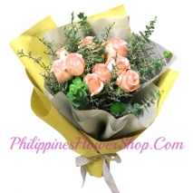 send lovely 12 peach roses bouquet to philippines