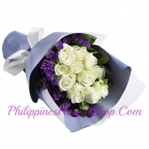 send happy world 12 white roses bouquet to philippines