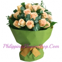 send 12 peach roses in bouquet to philippines