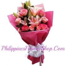 send brilliant 12 pink roses and pink lily to philippines