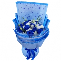 send 18pcs. blue and white roses in bouquet to philippines
