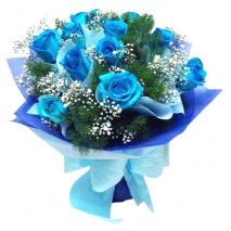 send 12 Pcs. light blue color roses bouquet to manila