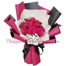 send 10 pcs. deep pink roses in bouquet to philippines