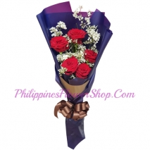 send 5 pcs. red color roses in bouquet to philippines