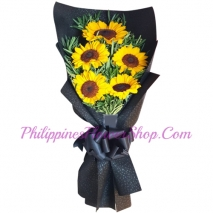 delivery 5 pcs. sunflower in bouquet to philippines