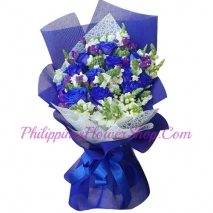 send 12 pcs. blue color roses in bouquet to philippines
