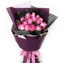 send 18 pcs fresh pink roses in bouquet to manila
