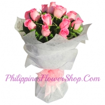 send being female 12 pink roses bouquet to manila