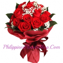 send romantic 12 red roses bouquet to manila