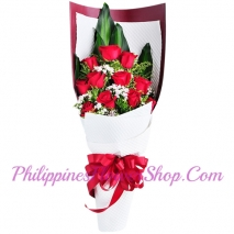 send truly blessing 12 red roses bouquet to manila