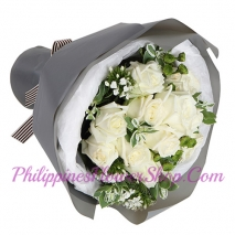 send simple 12 white roses bouquet to manila