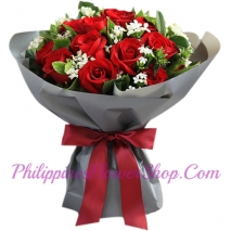 send 12 red roses bouquet to manila