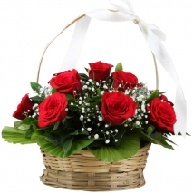 12 pcs. Red Color Roses in Basket