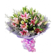 Easter gifts flower send to philippines pink lilies bouquet11 negle Images