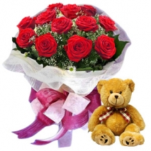 12 red rose with teddy bear to philippines