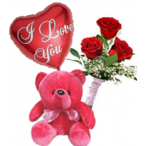Roses Bouqet,Red Bear With I Love U Balloon Delivery To Philippines