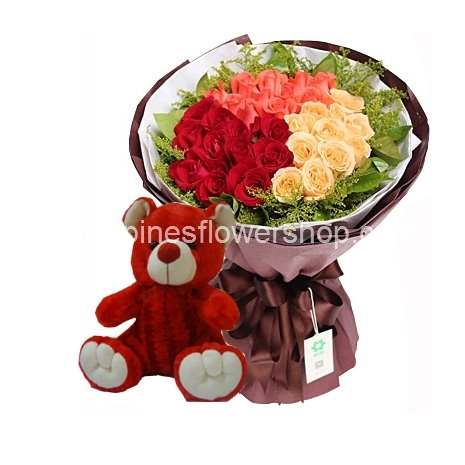 send 24 mixed roses with teddy bear to philippines