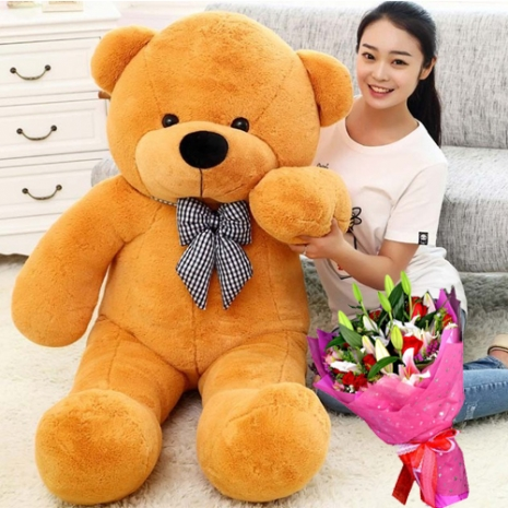 5ft giant teddy bear with mixed flower bouquet to philippines