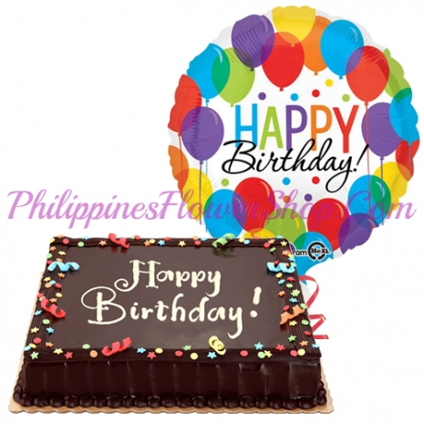 Chocolate Cake With Birthday Balloon To Philippines
