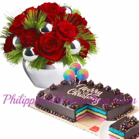 send xmas flower with rainbow cake to philippines