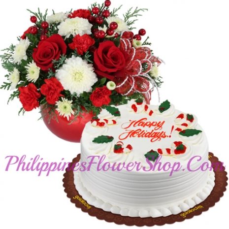 send xmas mixed flower with holiday cake to philippines