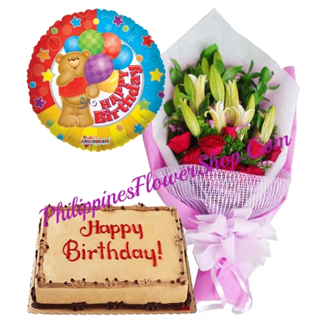 12 Red Roses, 2 Stem Lily with Mocha Cake and Balloon to Philippines