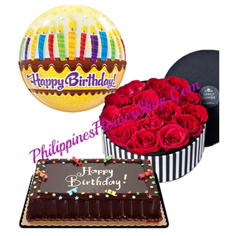 18 red roses with chocolate cake and balloon to philippines