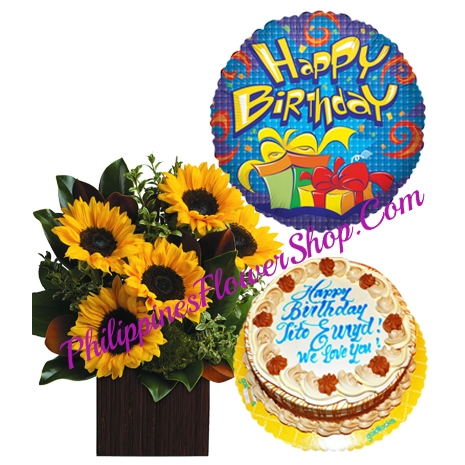 5 Sunflower with Lusciuous Caramel Cake and Balloon to Philippines
