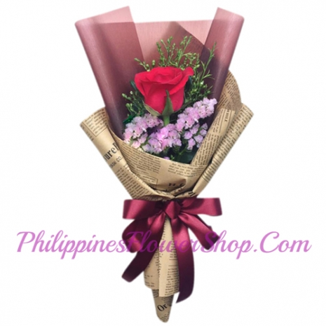 valentines single roses in bouquet to philippines