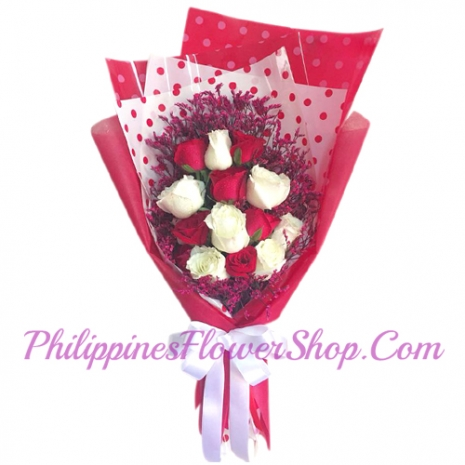 send 12 red and white roses bouquet to philippines