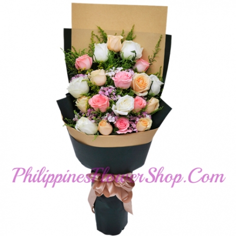send 24 mixed color roses bouquet to philippies