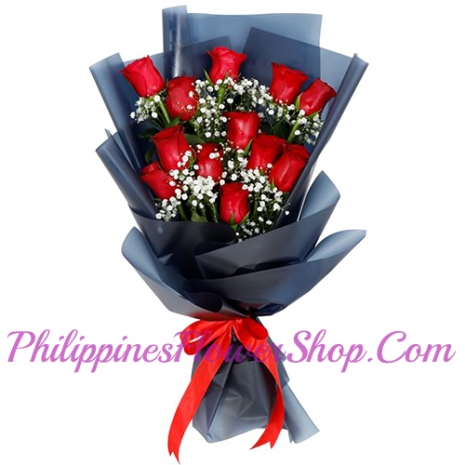 send acquaintance 12 red roses with green leaves to philippines