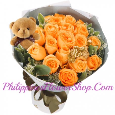 send unswerving love 12 orange roses to philippines