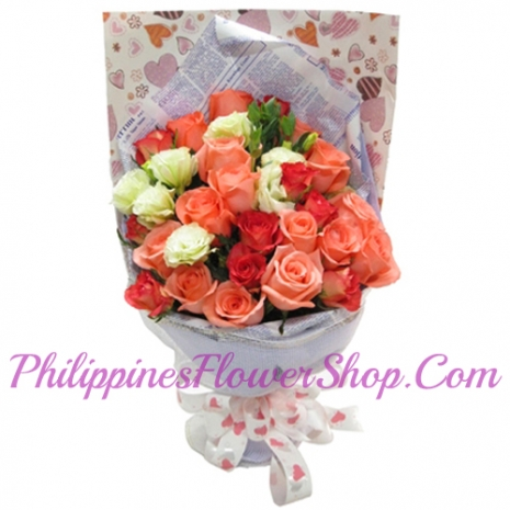 send 24 orange and white roses to philippines