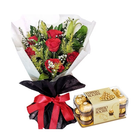 6 Red Roses bouquet with Alfredo Dark Chocolate To Philippines