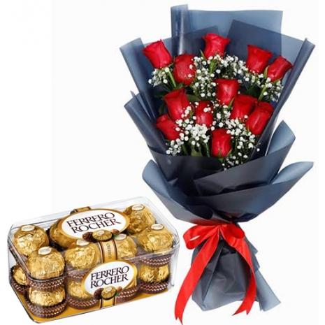 A Dozen of Red Roses with Ferrero Box
