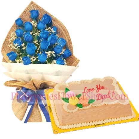 send father's day blue spray roses with mocha cake to philippines