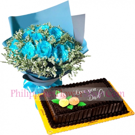 send fathers day light blue roses choco chiffon cake to philippines