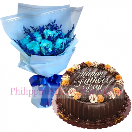 send fathers day light blue roses with choco caramel cake to philippines