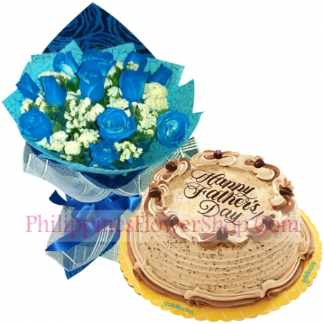 send fathers day blue roses with coffee crumble cake to philippines