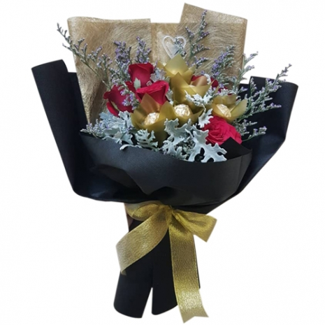 send red roses with ferrero chocolate in bouquet to philippines